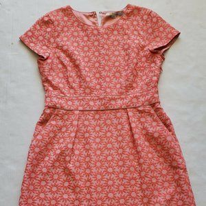Boden Women's Size 10R Dress Coral Floral Embossed
